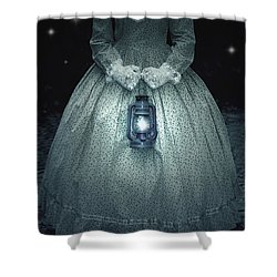 Woman With Lantern Shower Curtain by Joana Kruse