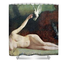 Woman With Pigeons Shower Curtain by Ernst Philippe Zacharie