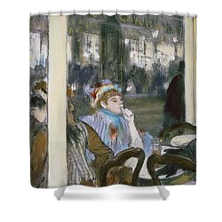 Women On A Cafe Terrace Shower Curtain by Edgar Degas