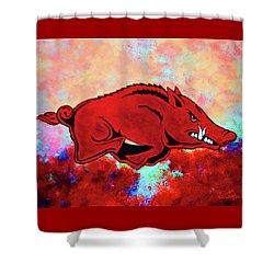 Woo Pig Sooie 3 Shower Curtain by Belinda Nagy