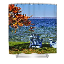 Wooden Chairs On Autumn Lake Shower Curtain by Elena Elisseeva