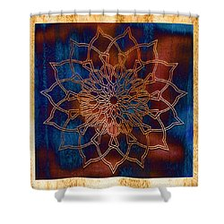 Wooden Mandala Shower Curtain by Hakon Soreide