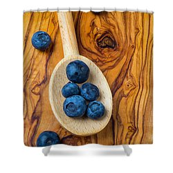 Wooden Spoon And Blueberries Shower Curtain by Garry Gay