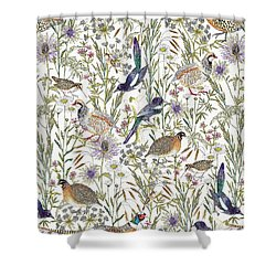 Woodland Edge Birds Shower Curtain by Jacqueline Colley