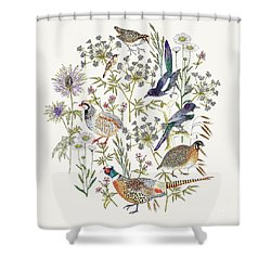 Woodland Edge Birds Placement Shower Curtain by Jacqueline Colley