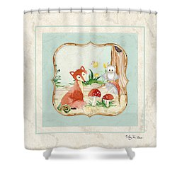 Woodland Fairy Tale - Fox Owl Mushroom Forest Shower Curtain by Audrey Jeanne Roberts
