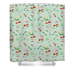Woodland Fairy Tale - Red Mushrooms N Owls Shower Curtain by Audrey Jeanne Roberts