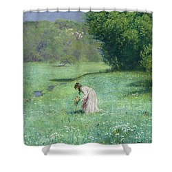 Woodland Meadow Shower Curtain by Hans Thoma