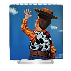 Woody Of Toy Story Shower Curtain by Paul Meijering
