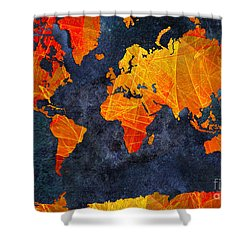 World Map - Elegance Of The Sun - Fractal - Abstract - Digital Art 2 Shower Curtain by Andee Design