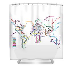 World Metro Tube Subway Map Shower Curtain by Michael Tompsett