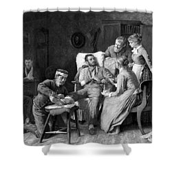 Wounded Soldier At The Battle Of Gettysburg Shower Curtain by War Is Hell Store