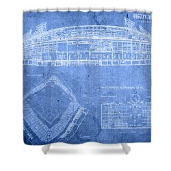 Wrigley Field Chicago Illinois Baseball Stadium Blueprints Shower Curtain by Design Turnpike