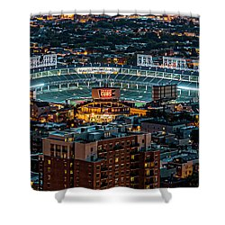 Wrigley Field From Park Place Towers Dsc4678 Shower Curtain by Raymond Kunst