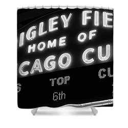 Wrigley Field Sign Black And White Picture Shower Curtain by Paul Velgos