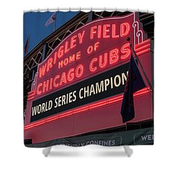 Wrigley Field World Series Marquee Shower Curtain by Steve Gadomski