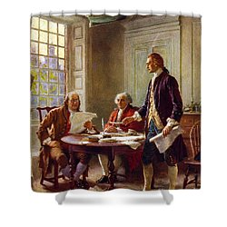 Writing The Declaration Of Independence, 1776, Shower Curtain by Leon Gerome Ferris