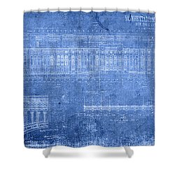 Yankee Stadium New York City Blueprints Shower Curtain by Design Turnpike