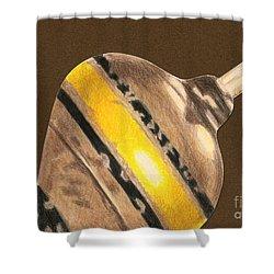Yellow And Black Top Shower Curtain by Glenda Zuckerman