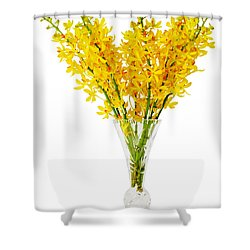 Yellow Orchid In Crystal Vase Shower Curtain by Atiketta Sangasaeng