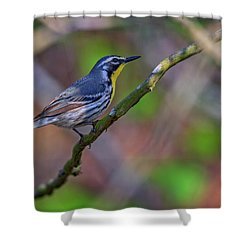 Yellow-throated Warbler Shower Curtain by Rick Berk