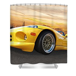 Yellow Viper Rt10 Shower Curtain by Gill Billington