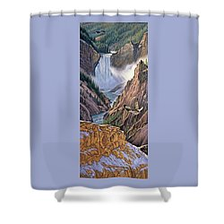 Yellowstone Canyon-osprey Shower Curtain by Paul Krapf