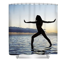 Yoga On The Coastline Shower Curtain by Brandon Tabiolo - Printscapes