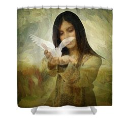 You Bird Of Freedom And Peace Shower Curtain by Gun Legler