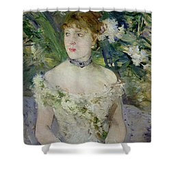 Young Girl In A Ball Gown Shower Curtain by Berthe Morisot