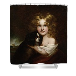 Young Girl With A Dog Shower Curtain by Margaret Sarah Carpenter