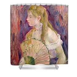 Young Girl With A Fan Shower Curtain by Berthe Morisot