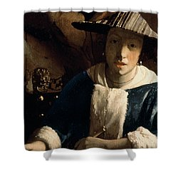 Young Girl With A Flute Shower Curtain by Jan Vermeer