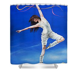 Young Lovers Meet- Girl Shower Curtain by Cindy D Chinn