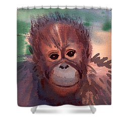 Young Orangutan Shower Curtain by Donald Maier