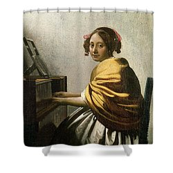 Young Woman At A Virginal Shower Curtain by Jan Vermeer