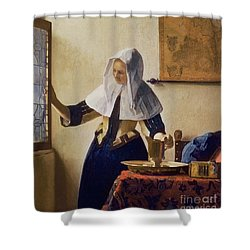 Young Woman With A Water Jug Shower Curtain by Jan Vermeer