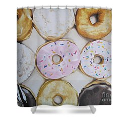 Yummy Donuts Shower Curtain by Jindra Noewi