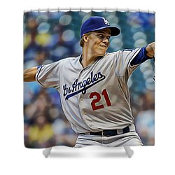 Zack Greinke Los Angeles Dodgers Shower Curtain by Marvin Blaine