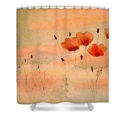 Zen Poppies Shower Curtain by Arlene  Wright-Correll