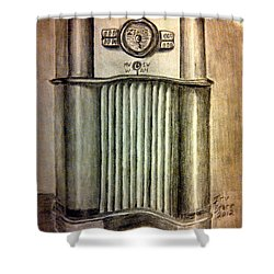 Zenith Radio Shower Curtain by Irving Starr