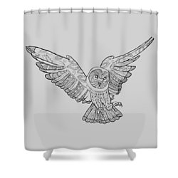 Zentangle Owl In Flight Shower Curtain by Cindy Elsharouni