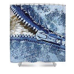 Zipper In Blue Shower Curtain by Nancy Mueller