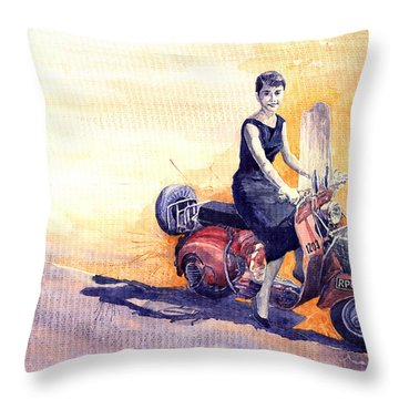 Audrey Hepburn And Vespa In Roma Holidey  Throw Pillow by Yuriy  Shevchuk