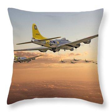 B17 - 486th Bg - Homeward Throw Pillow by Pat Speirs