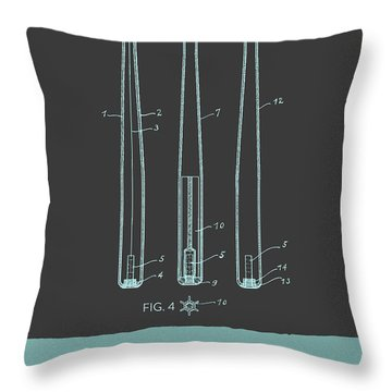 Baseball Bat Patent From 1924 - Gray Blue Throw Pillow by Aged Pixel