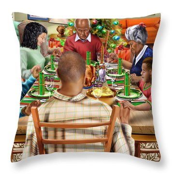 Bless Us O Lord And These Thy Gifts Throw Pillow by Reggie Duffie
