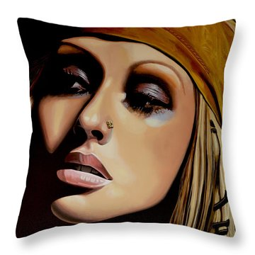 Christina Aguilera Painting Throw Pillow by Paul Meijering