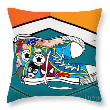 Comics Shoes Throw Pillow by Mark Ashkenazi