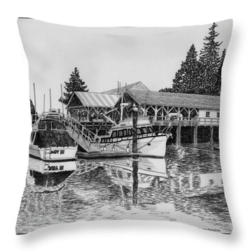 Fishermans Net Shed Gig Harbor Throw Pillow by Jack Pumphrey